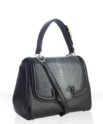 56f20e927cb2 Fendi black leather and stingray  Silvana  flap crossbody bag