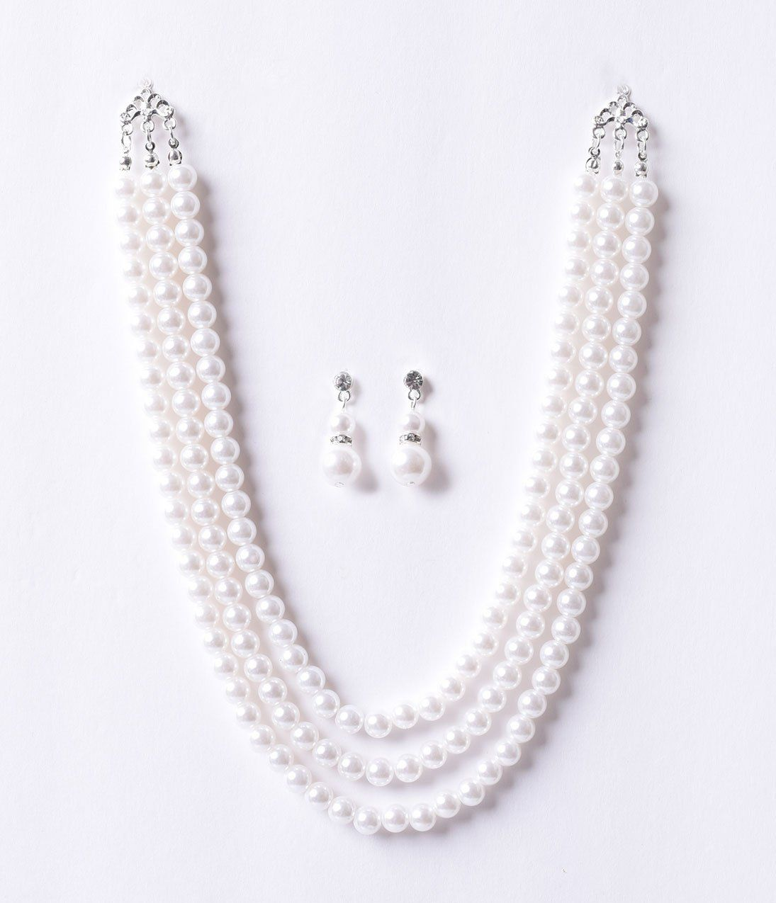 50s Jewelry Ivory Pearl Necklace Earring Set