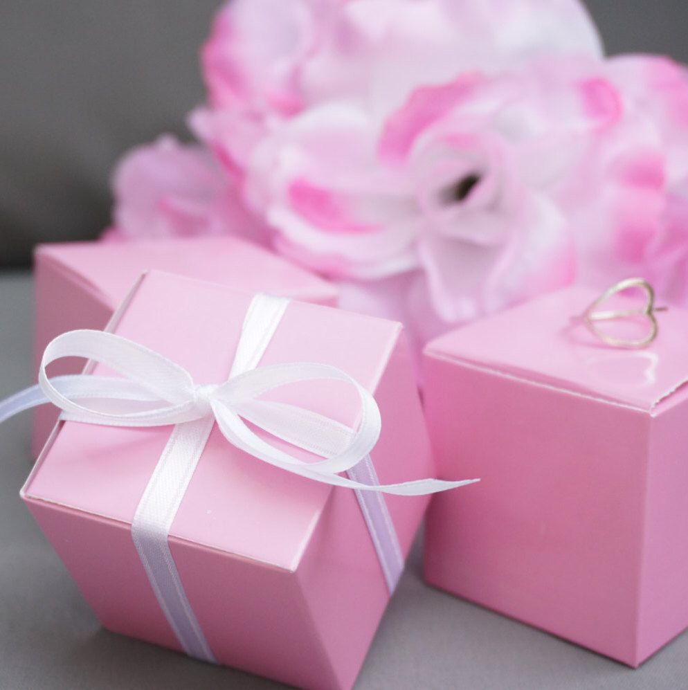10 Pink Favor Boxes Jewelry Gift Boxes Gift Wrap Pastel Pink Theme