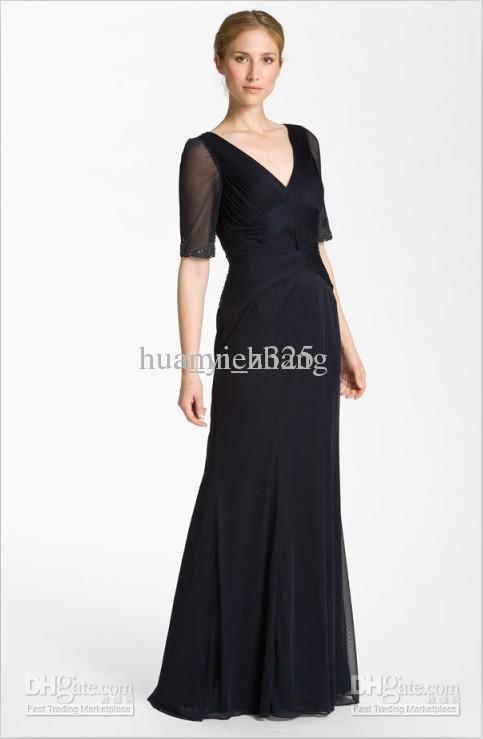 Wholesale Bride Dress - Buy Elegant Chiffon V-Neck Eblow Sleeve Lace Appliques Mother Of The Bride Dresses, $131.82   DHgate