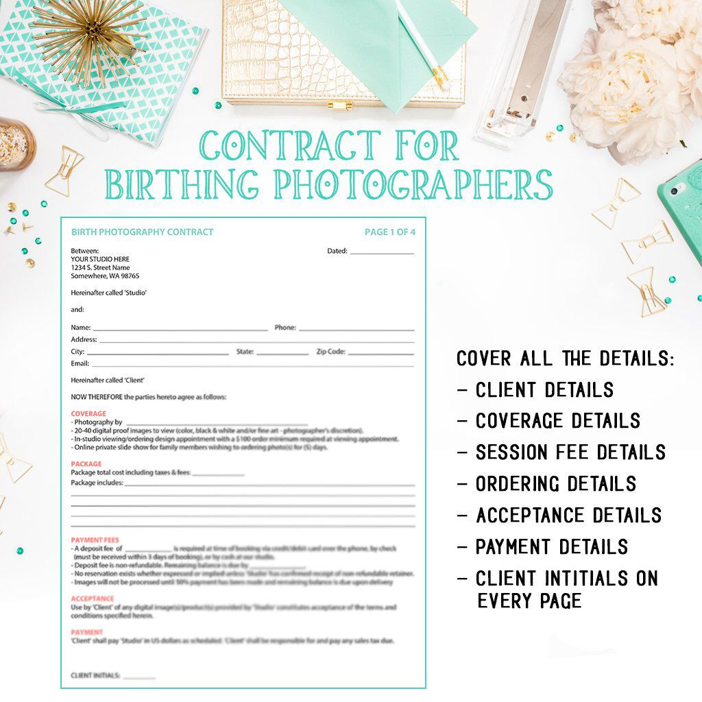 Birth Photography Contract Template For Portrait Photographer