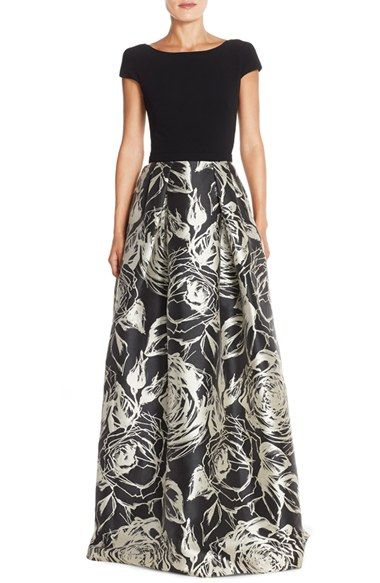 Theia Scooped Back Print Ballgown available at #Nordstrom