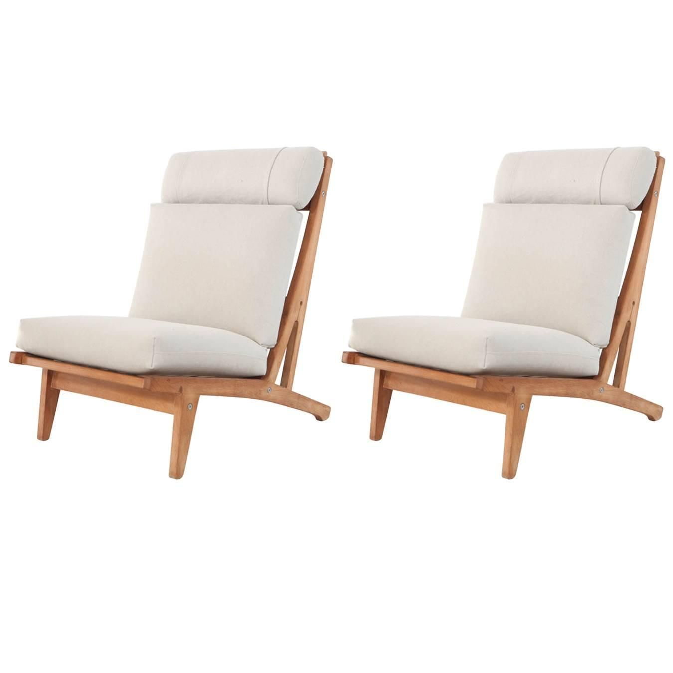 Pair Of Hans Wegner Ge375 Oak Armless Lounge Chairs From A Unique Collection Antique