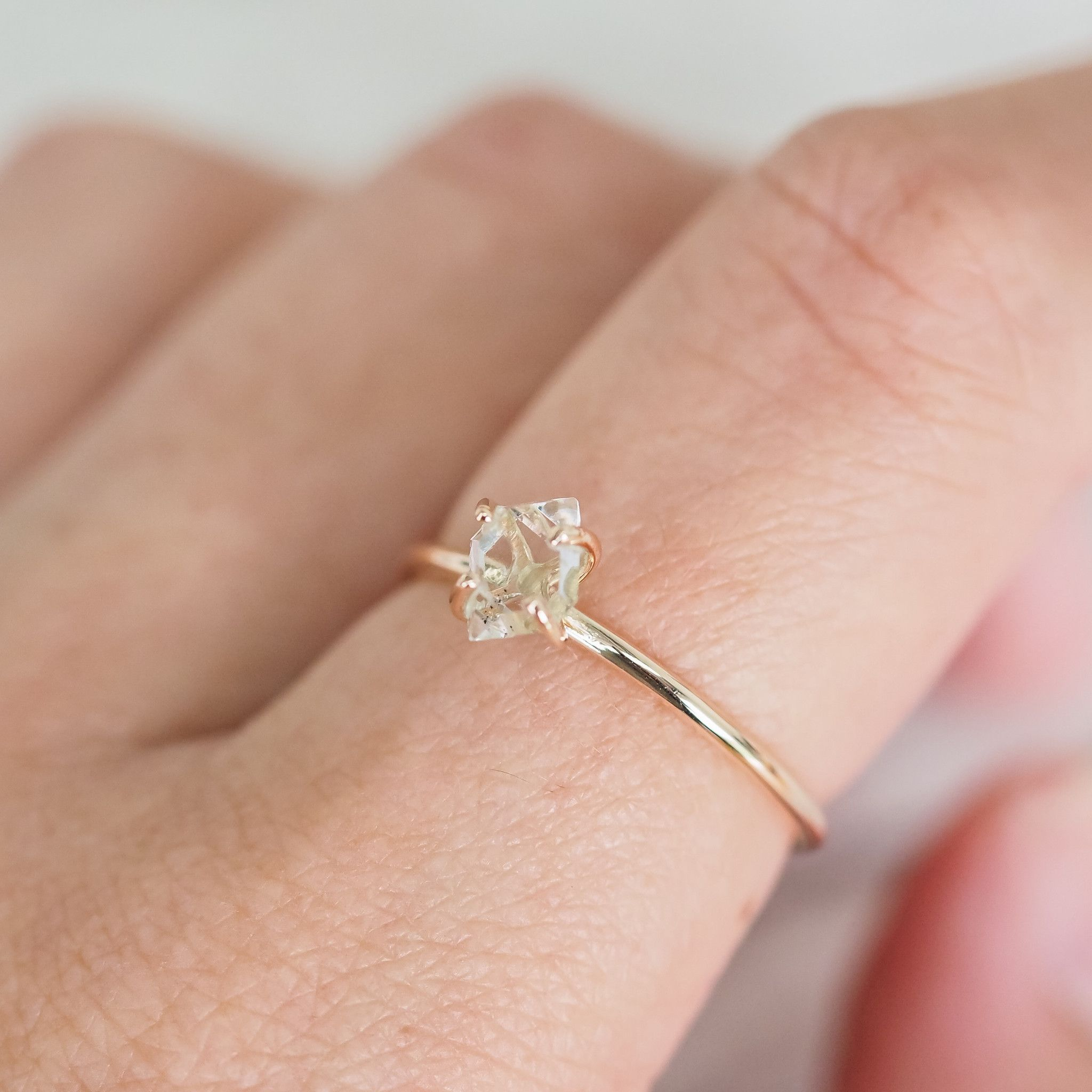 Solid Gold Herkimer Diamond Ring Bohemian Gypsy Jewels