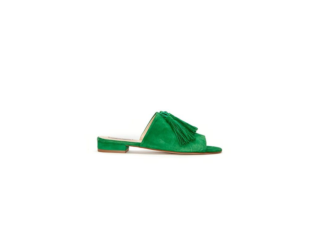 bae266eccfad Sunset suede sandal from Fabienne Chapot in green. This green suede slip on  sandal has