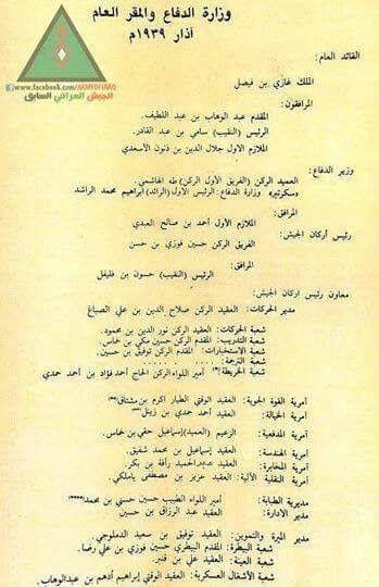 وثيقة تاريخية مهمة عن ضباط المقر العام لوزارة الدفاع العراقية عام 1939 History Iraq Newspapers