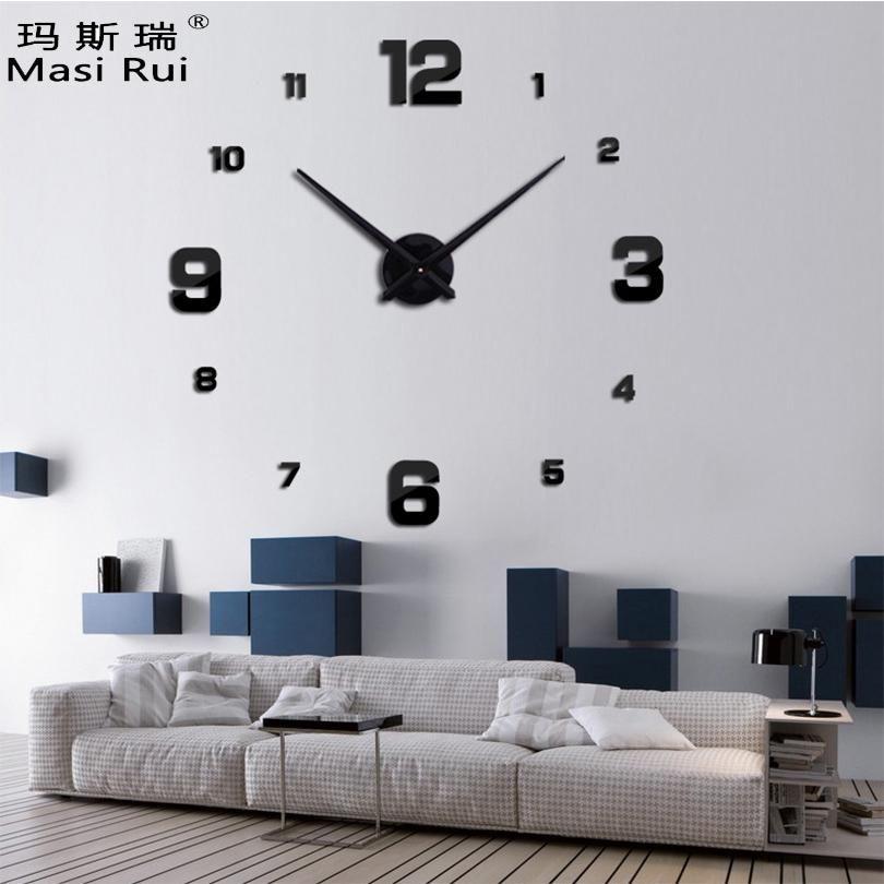3d Real Big Wall Clock Modern Design Rushed Quartz Clocks Fashion Watches Mirror Sticker Diy Living Room D Big Wall Clocks Diy Living Room Decor Diy Clock Wall