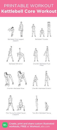 Kettlebell Core Workout My Custom Printable Customworkout Kettlebells