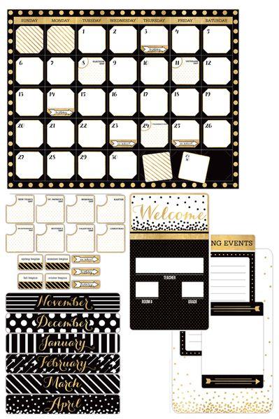 Glimmer Of Gold Collection Customizable Calendar Bulletin Board