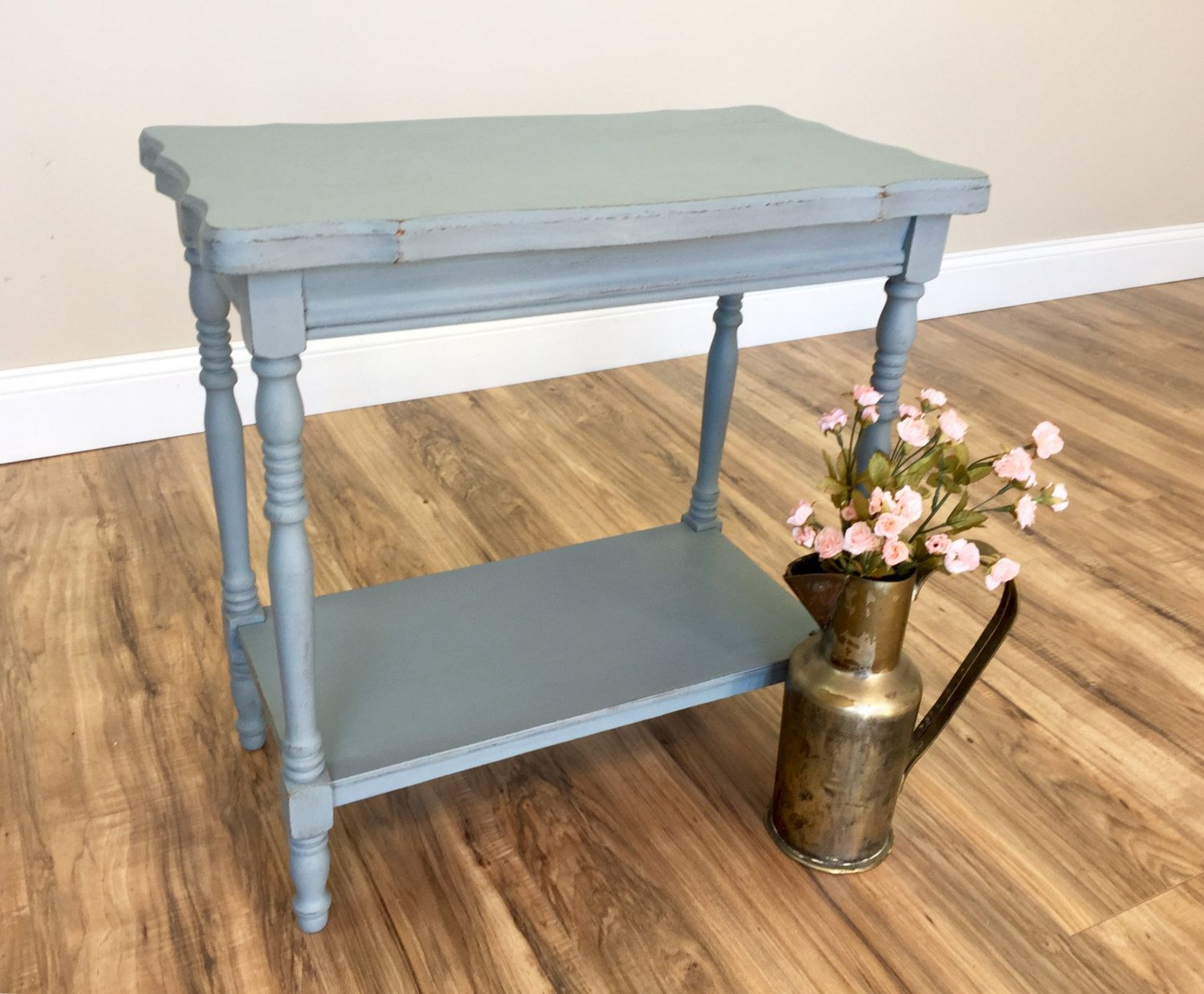 small sofa end tables sectional leather canada vintage table blue side distressed furniture