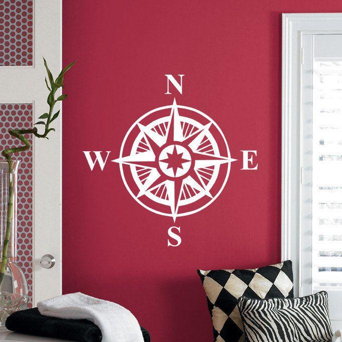 Compass Rose Wall Decal Art Decor Sticker Vinyl Nautical compass ...