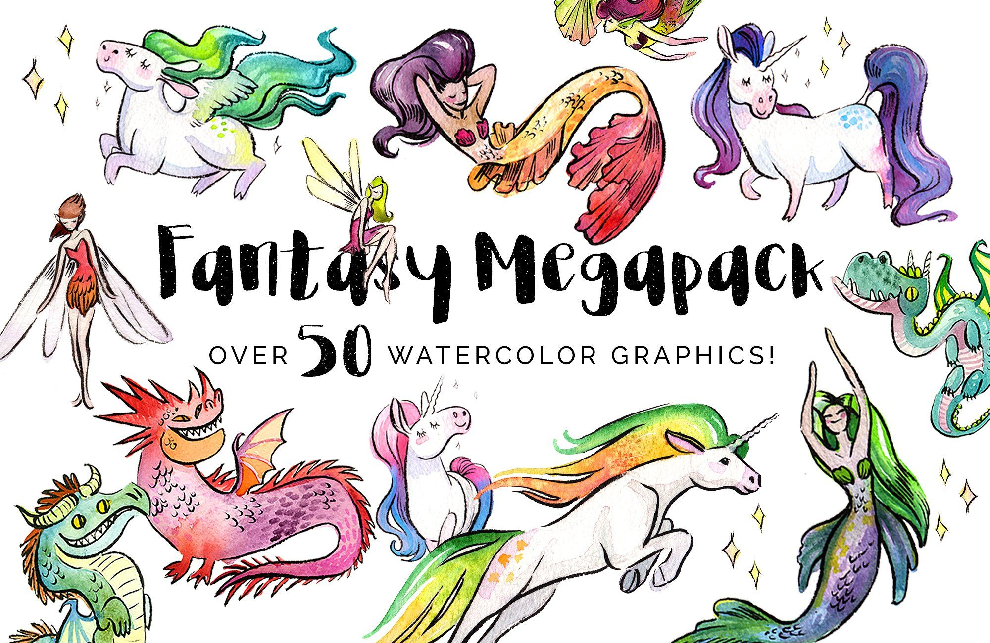 Fantasy megapack 25 savings graphic design resources