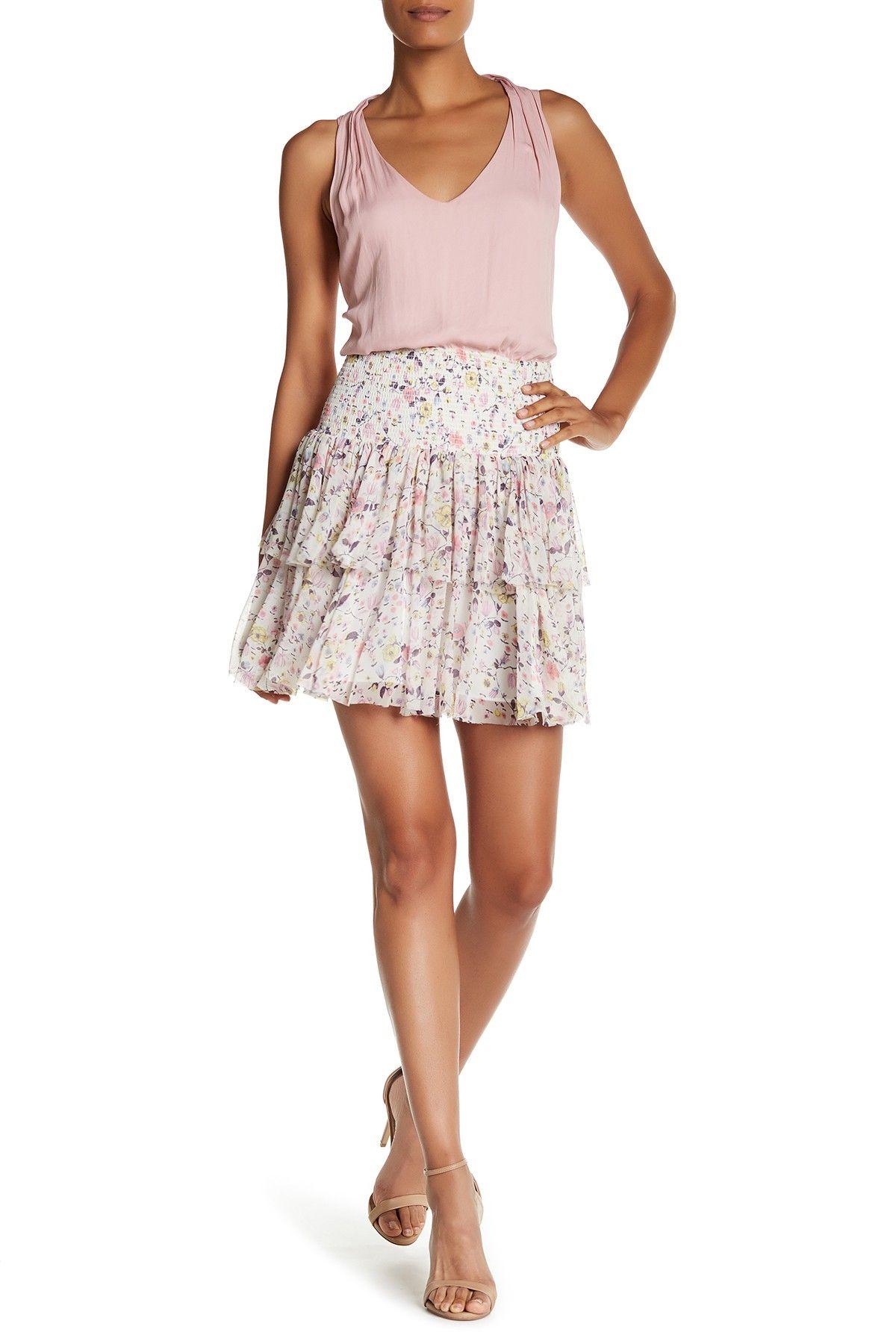 Tapestry Ruffle Layer Skirt