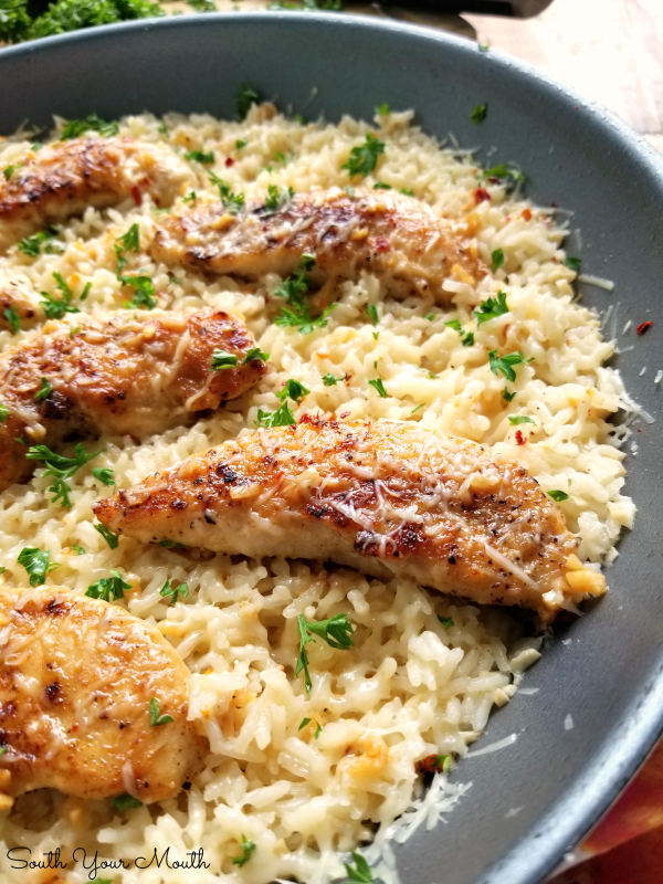 Chicken Scampi with Garlic Parmesan Rice