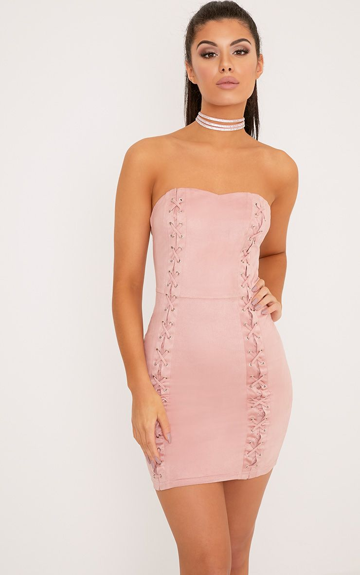 f41c794123ef Dusty Pink Halterneck Strappy Back Lace Dress Channel the feminine lace  trend in the sexiest of ... latest fashion nude strong stretch bandage ...