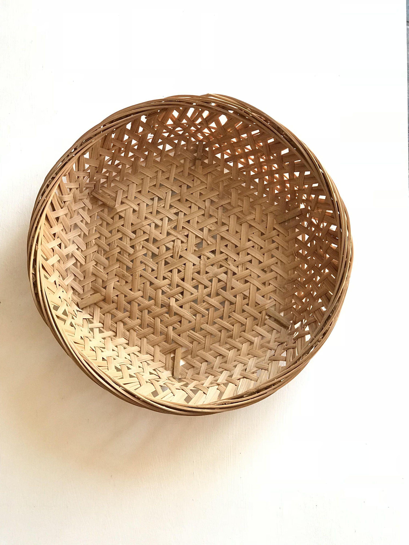 17 Xl Round Open Weave Wall Basket Woven Wicker Flat