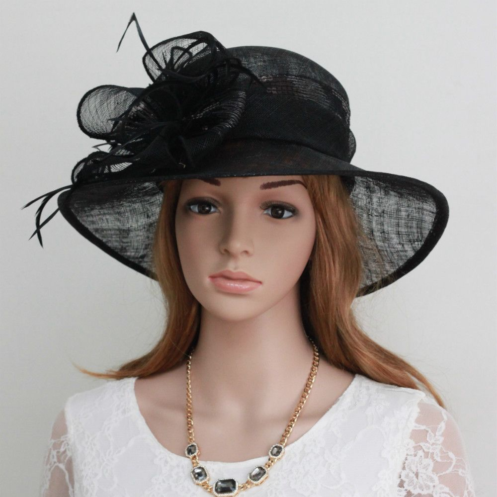 3f06b082d015c New Woman Church Kentucky Derby Wedding Sinamay Dress Hat 710 Black US   29.99