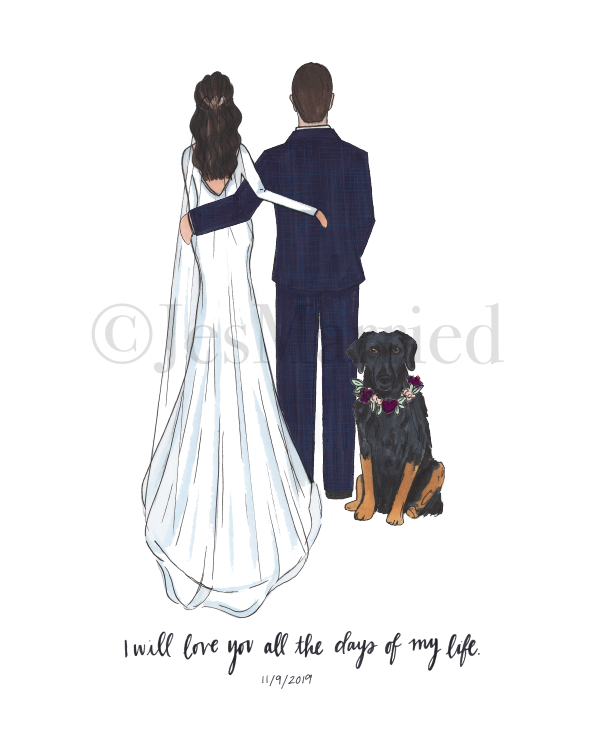 Custom Bride And Groom Drawing In 2020 Wedding Illustration Custom Illustrated Wedding Invitations Bride