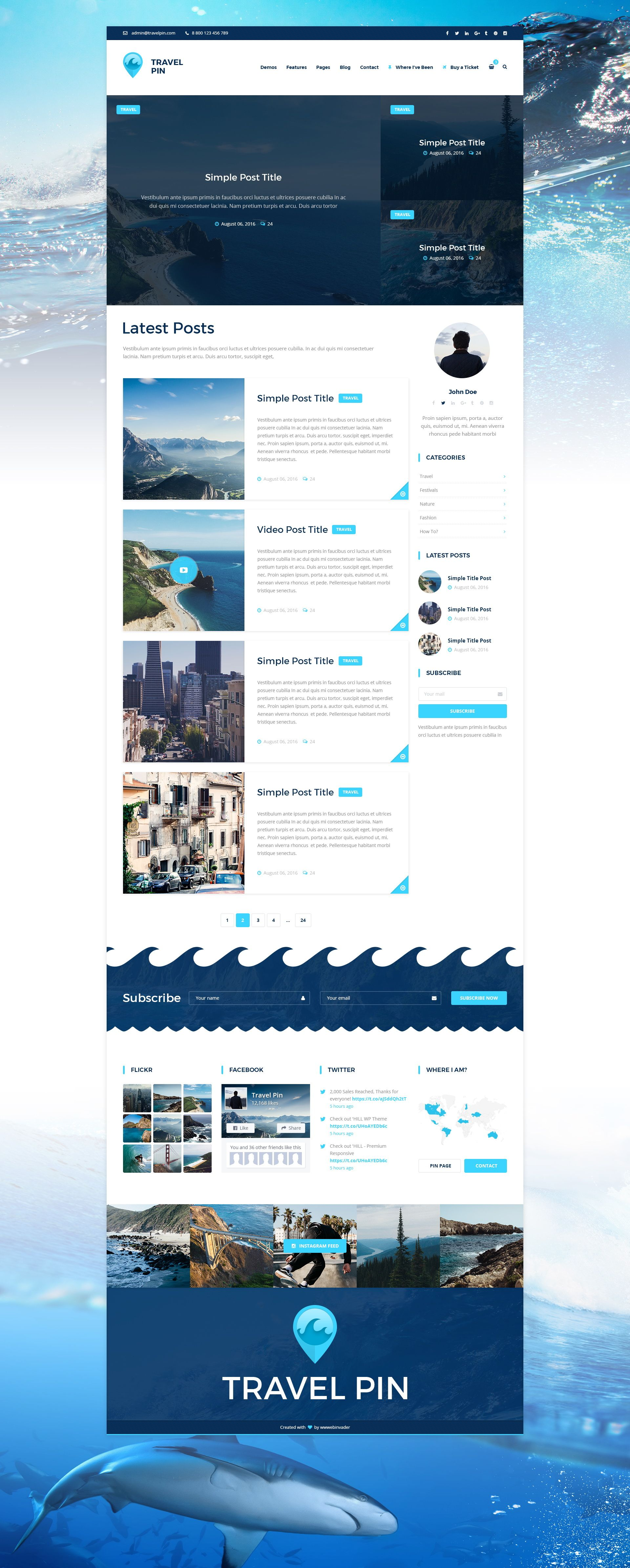 Travel Blog With Map Travel Pin Travel Blog Magazine And One Page Psd Template