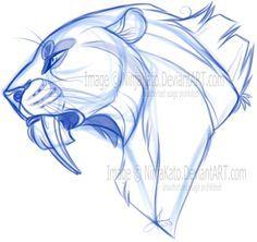 Tigre dents de sabre profil chara animaux - Dessin de sabre ...