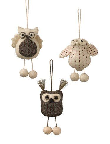 Felt Owl Ornaments, Set of 3
