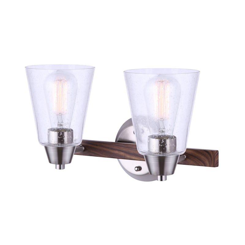 """Photo of Canarm IVL742A02 Dex 2 Light 14 """"Wide Bathroom Vanity Light Brushed Nickel / Faux Wood Indoor Lighting Bathroom Fixtures Vanity Light"""