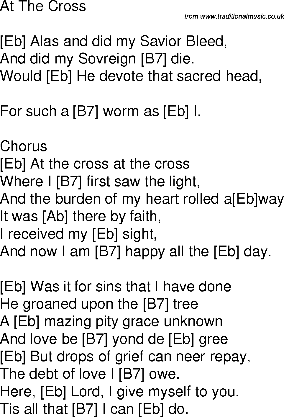 Old Time Song Lyrics With Chords For At The Cross Eb Chords