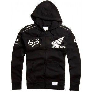 Fox Racing Honda Zip Hooded Sweatshirt Black Fox Racing Mens Sweatshirts At Bob S Cycle Supply Fox Racing Clothing Fox Clothing Sweatshirts