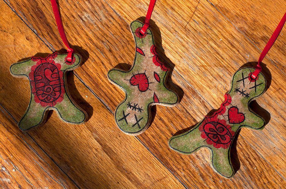 Christmas Decorations Zombie Gingerbread Men Ornaments Set of 3