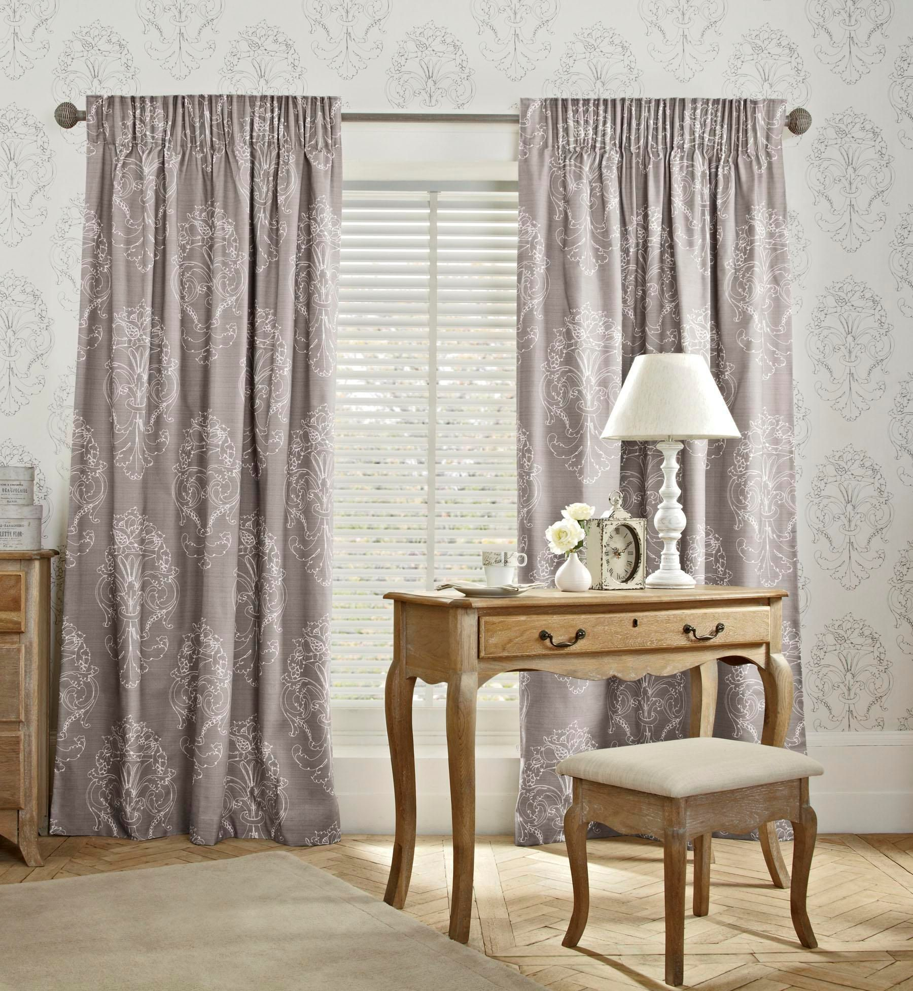 Buy French Damask Printed Pencil Pleat Curtains From The