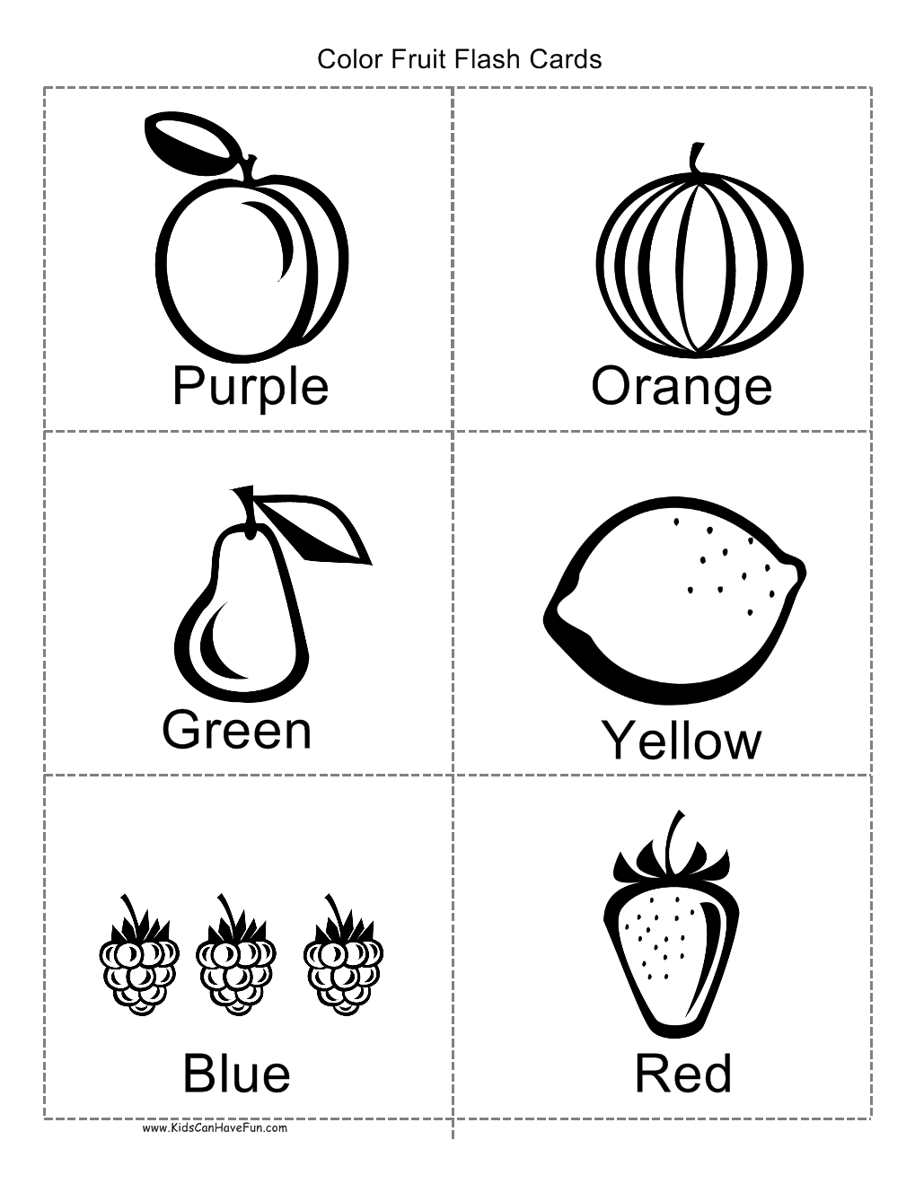 Color Fruit Flashcards Coloring Worksheets For Kindergarten Fruit Coloring Pages Kindergarten Coloring Pages