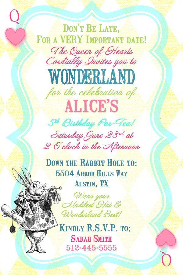 Alice in Wonderland Queen of Hearts Birthday Tea Party Invitation ...