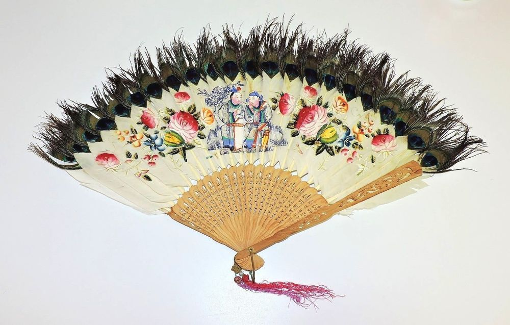 2118~ANTIQUE Oriental Hand Fan PEACOCK FEATHERS Hand Painted & CARVED Wood Frame
