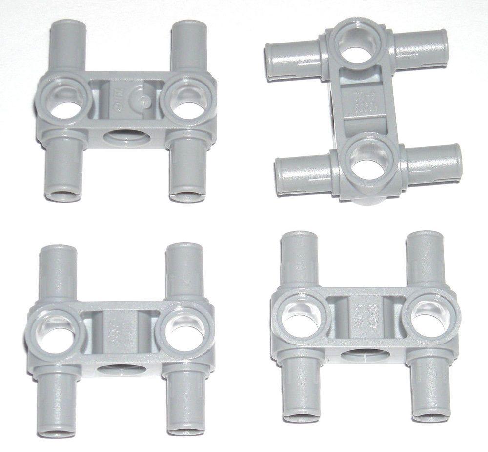 LEGO 4 Light Bluish Gray Technic Mindstorms Pin Connectors Perpendicular 3L 9398 #LEGO
