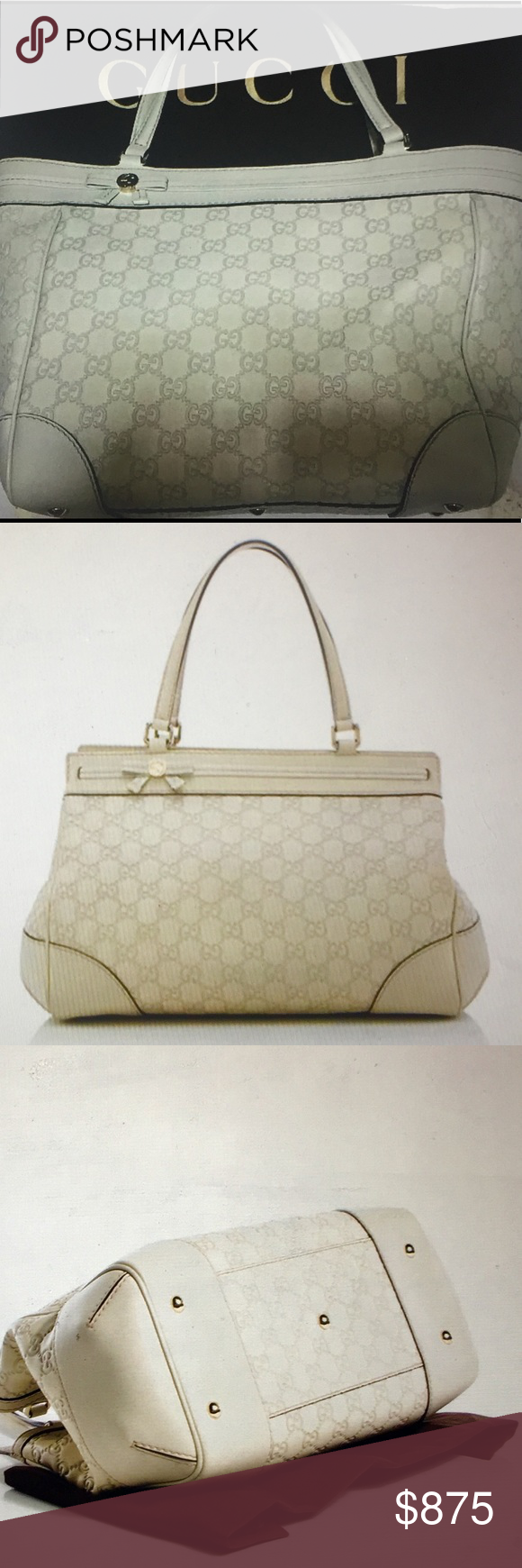 776e37b46a21 Gucci GG Guccissima Mayfair Tote Bag 👜 Authentic Gucci Tote Bag, GG  Monogrammed ivory