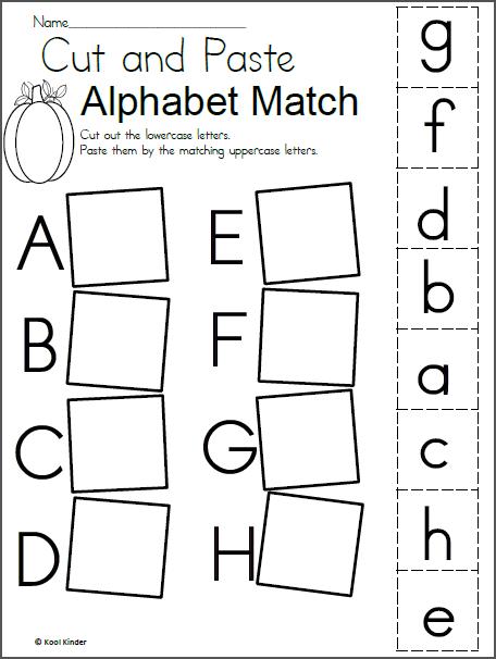 alphabet match worksheet for fall learning daycare kindergarten worksheets alphabet. Black Bedroom Furniture Sets. Home Design Ideas