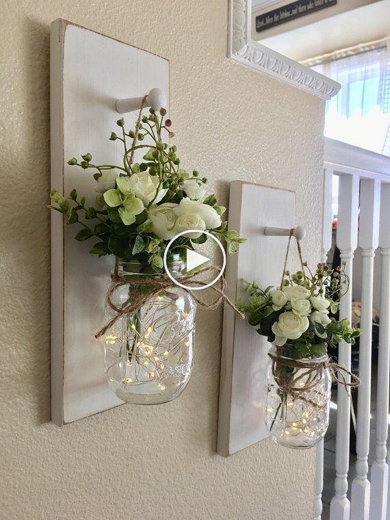 Hauptdekor-Weckglas-Leuchter-Weckglas-Dekor-Bauernhaus-Wand #kronleuchterselbstbauen