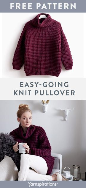 Photo of Free Easy Knit Sweater Pattern | Made with #Bernat Roving, a soft, thick, and ea…