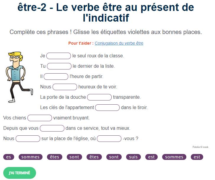 𝗟𝗲 𝘃𝗲𝗿𝗯𝗲 E𝘁𝗿𝗲 𝗮𝘂 𝗽𝗿𝗲 𝘀𝗲𝗻𝘁 𝗱𝗲 𝗹 𝗶𝗻𝗱𝗶𝗰𝗮𝘁𝗶𝗳 Verbe Etre Conjugaison Verbe Etre Exercice Francais Ce2