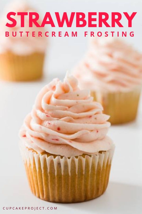 Get ready for a pink themed party with this easy to make Strawberry Buttercream Frosting! It is made with fresh strawberries! It has a lovely light strawberry flavor and it has a natural soft pink color. Save it for your next birthday celebration! #frostings