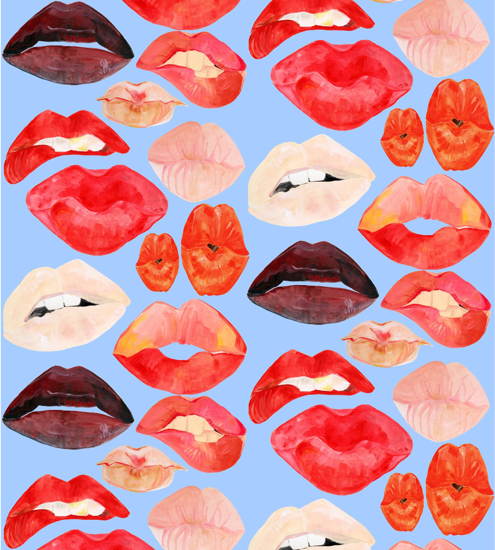 Lips on Van Gogh Blue Wallpaper