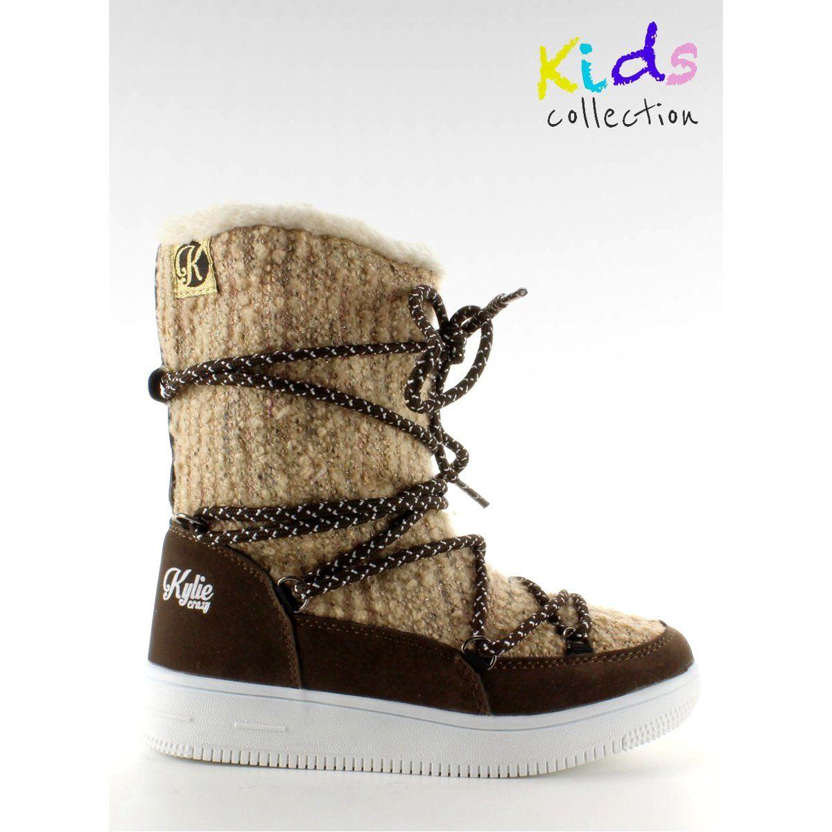 Dla Dzieci Butymodne Dzieciece Sniegowce Eskimoski K1646102 Beige Kid Shoes Boots Snow Boots