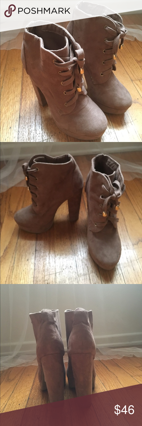 Stylish Plateform Booties!! Stylish Suede Plateform Booties that goes with all your everyday wear wardrobe!! Wore it once only!! Still very new!! Shoes Ankle Boots & Booties