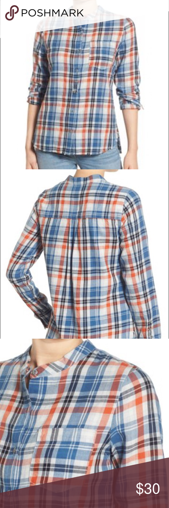 """Plaid Band Collar Cotton Shirt A band collar and contrast patch at the placket add unexpected detail to a plaid cotton blouse with long, scrunchable sleeves. - 28"""" length (size Medium) - Front button closure - Chest patch pocket - Long sleeves with single-button cuffs - 100% cotton - Machine wash cold, tumble dry low - By Treasure&Bond; imported Treasure & Bond Tops Button Down Shirts"""