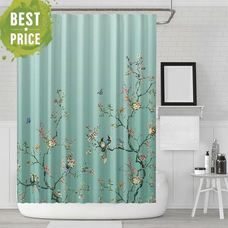 Birds Flowers Pattern Shower Curtains For Bathroom Bird Shower