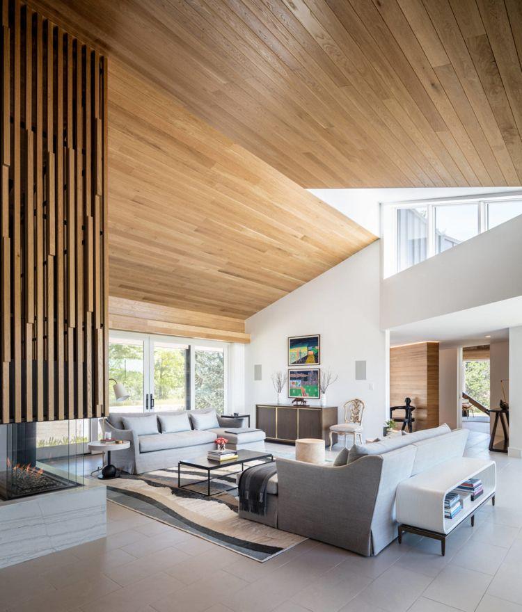 deckenverkleidung holz wand wohnzimmer feuerstelle polstermöbel - moderne deckenverkleidung wohnzimmer