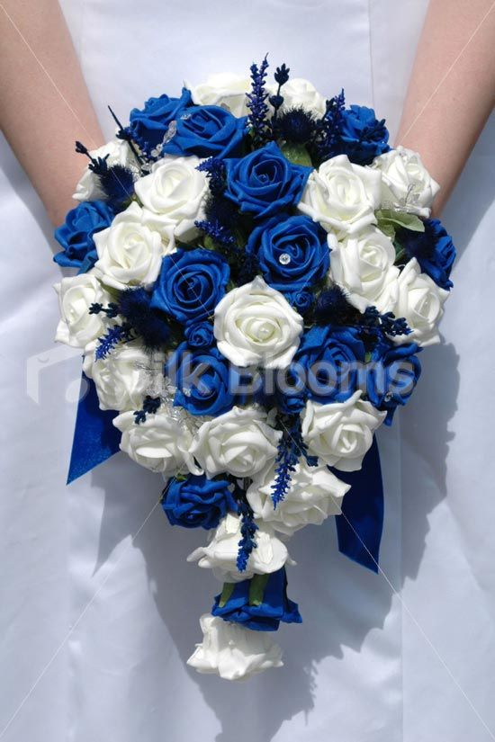 Blue Ivory Teardrop Bridal Bouquet W Thistles Roses Crystals