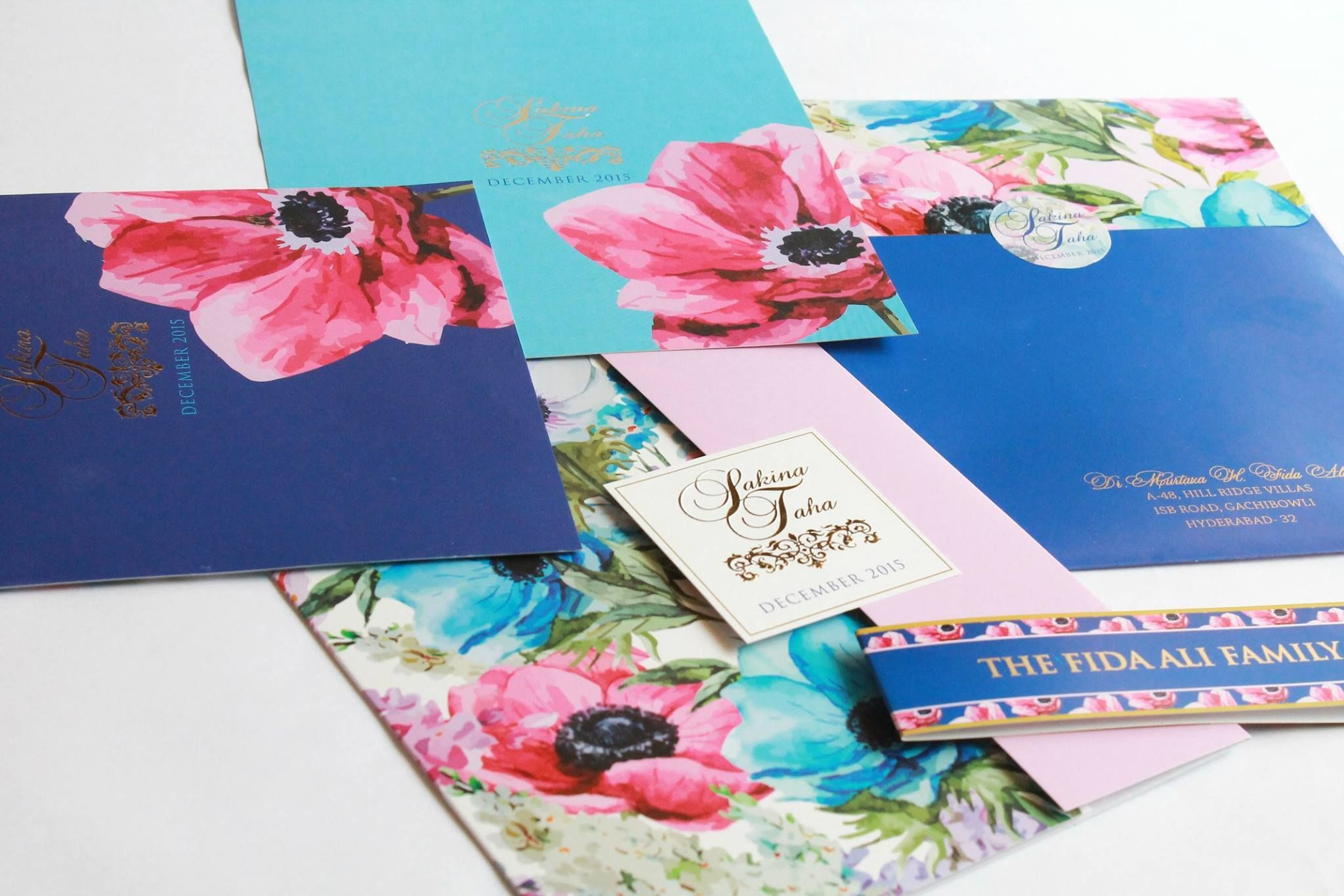 Painted Floral Prints For Sakina Taha S Wedding Invite By Pretty