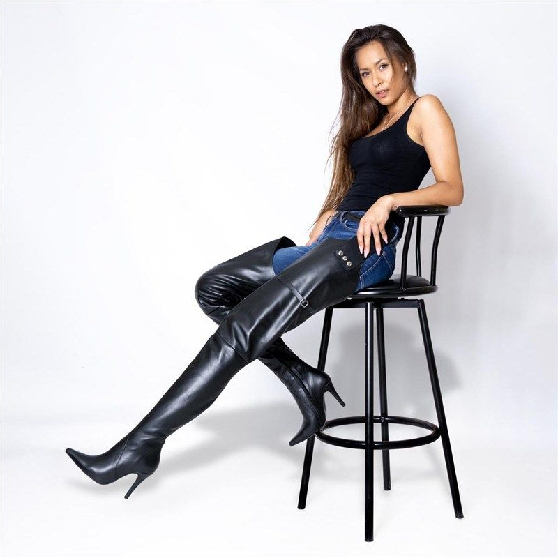 Fashion Pointy Toe Crotch Thigh High Stiletto Boots Sexy Black Pant Overknee Boots Lady Slouchy High Heels Long Boots Women 2019