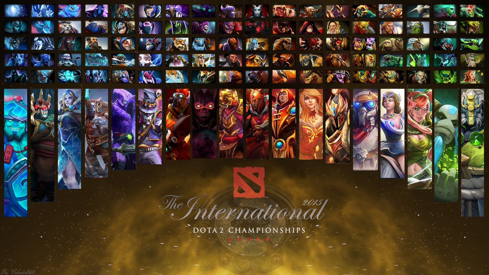 The International 5 All Heroes Wallpaper By Edward5622 Hero Wallpaper Dota 2 Wallpaper Dota 2